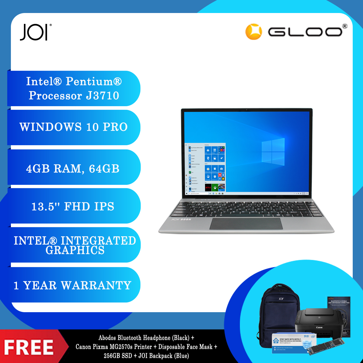 JOI Book 200 Pro + Abodos Bluetooth Headphone Black + Canon Pixma MG2570s Printer + Disposable 3 Layer Face Mask + 256GB SSD + JOI Backpack (Blue) [BPPJOI0200PRBL]