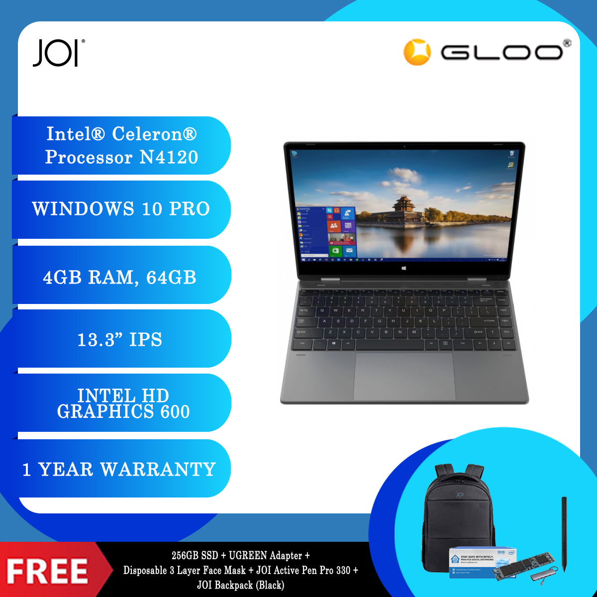 """JOI Book Touch 330 Pro (N4120,4GB+64GB,13.3"""" FHD,W10Pro) + 256GB SSD + UGREEN USB-C To 3*USB 3.0 A+HDMI+VGA+RJ45 Gigabit+SD/TF+AUX3.5mm+PD Converter Adapter + Disposable 3 Layer Face Mask + JOI Active Pen Pro 330 + JOI Backpack (Black) [BPPJOI0330MSBK]"""