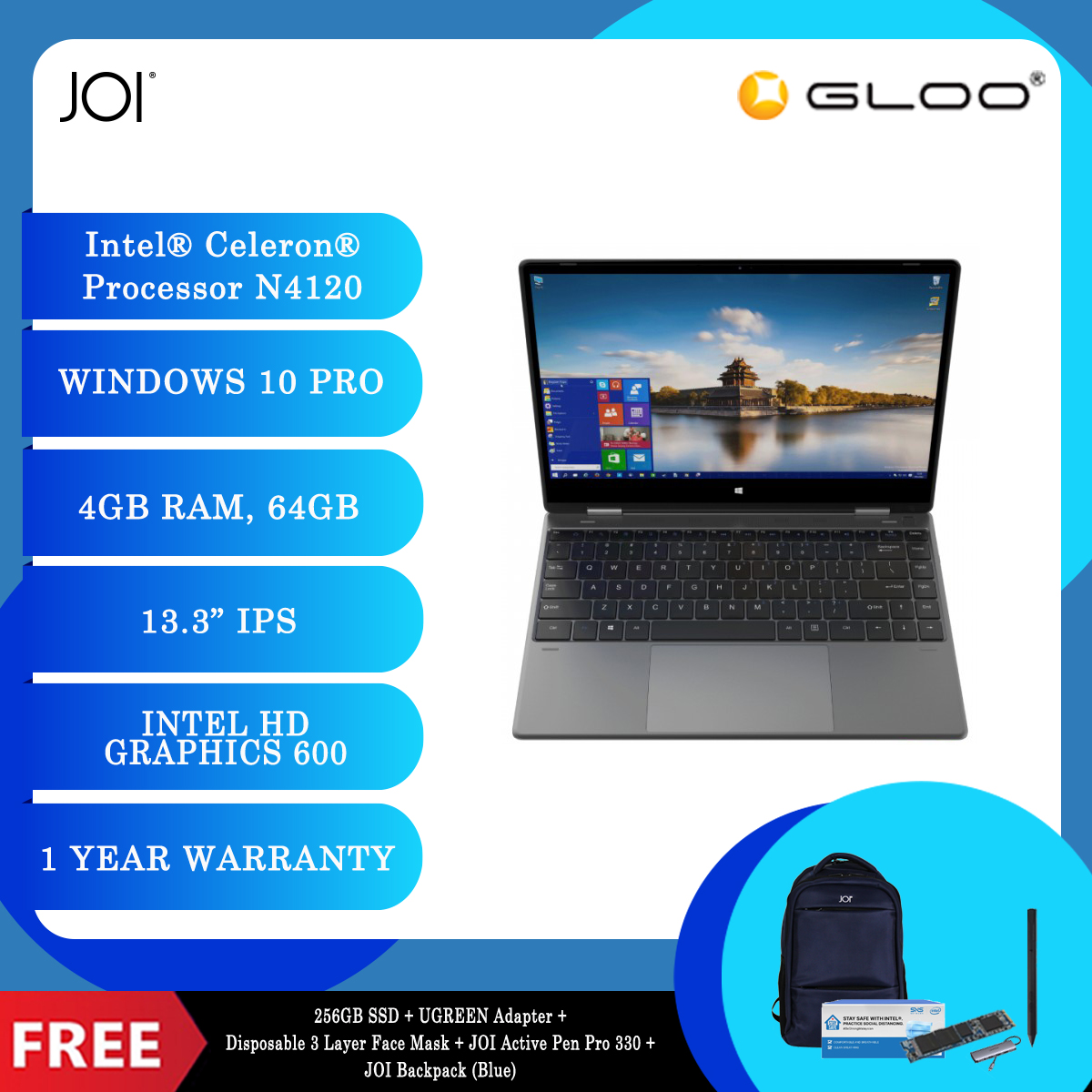 """JOI Book Touch 330 Pro (N4120,4GB+64GB,13.3"""" FHD,W10Pro) + 256GB SSD + UGREEN Adapter + Disposable 3 Layer Face Mask + JOI Active Pen Pro 330 + JOI Backpack (Blue) [BPPJOI0330MSBL]"""