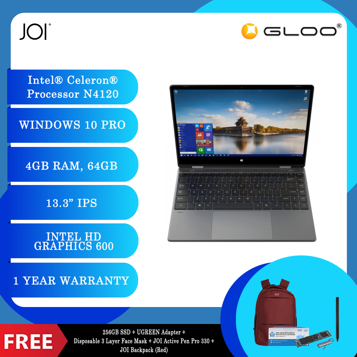 """JOI Book Touch 330 Pro (N4120,4GB+64GB,13.3"""" FHD,W10Pro) + 256GB SSD + UGREEN Adapter + Disposable 3 Layer Face Mask + JOI Active Pen Pro 330 + JOI Backpack (Red) [BPPJOI0330MSRD]"""