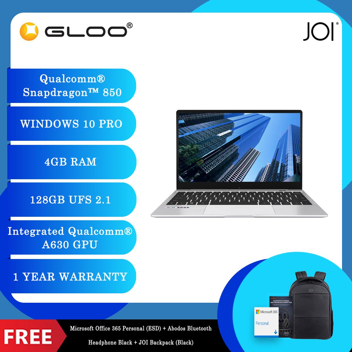 "JOI Book SK3000 (Qualcomm SDM850,Kryo385,4GB,128GB SSD,12.5"",W10Pro,LTE) + Microsoft Office 365 Personal (ESD) + Disposable 3 Layer Face Mask + UGREEN Adapter + Abodos Bluetooth Headphone Black + JOI Backpack (Black) [BPPJOI03KHEPBK]"