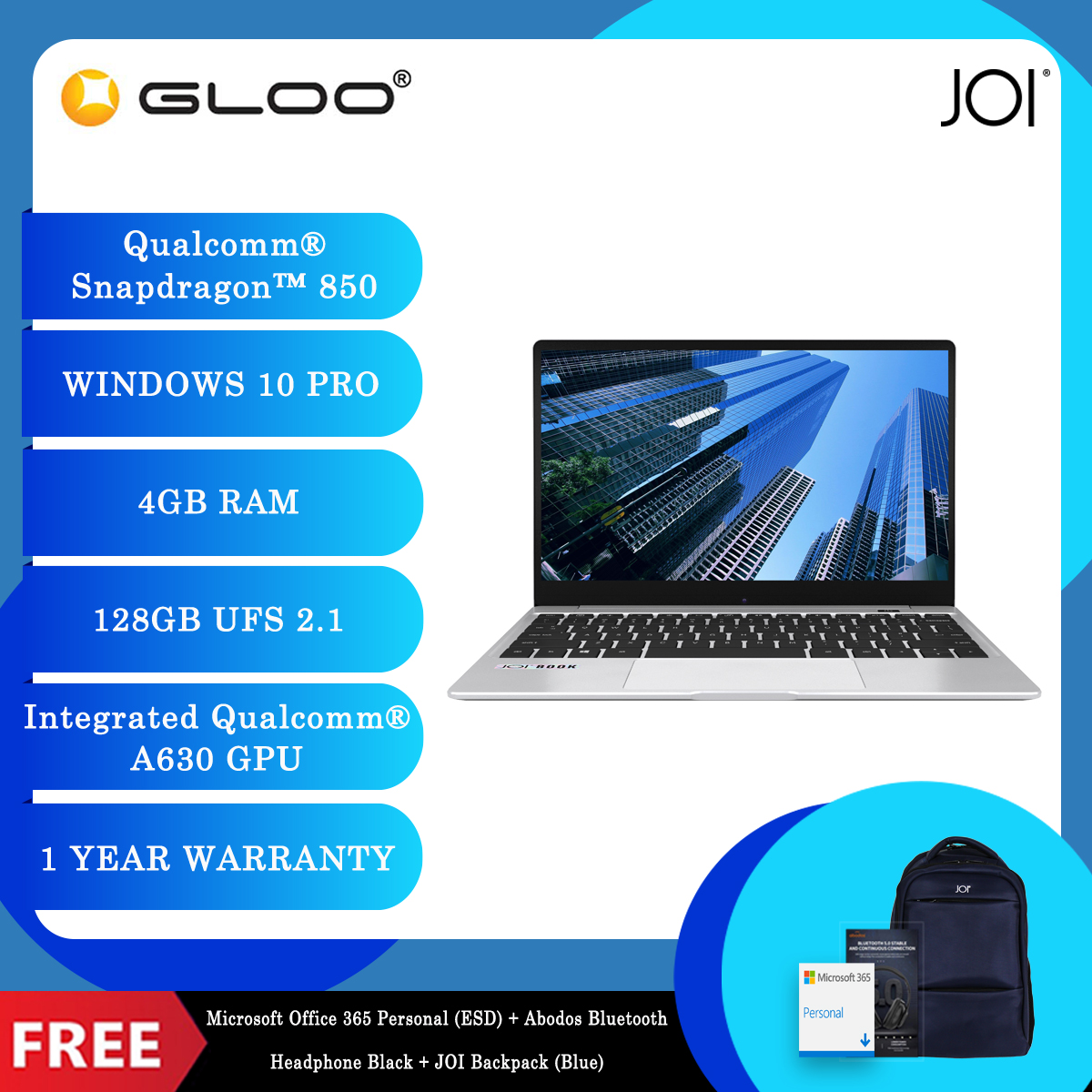 """JOI Book SK3000 (Qualcomm SDM850,Kryo385,4GB,128GB SSD,12.5"""",W10Pro,LTE) + Microsoft Office 365 Personal (ESD) + Disposable 3 Layer Face Mask + UGREEN Adapter + Abodos Bluetooth Headphone Black + JOI Backpack (Blue) [BPPJOI03KHEPBL]"""