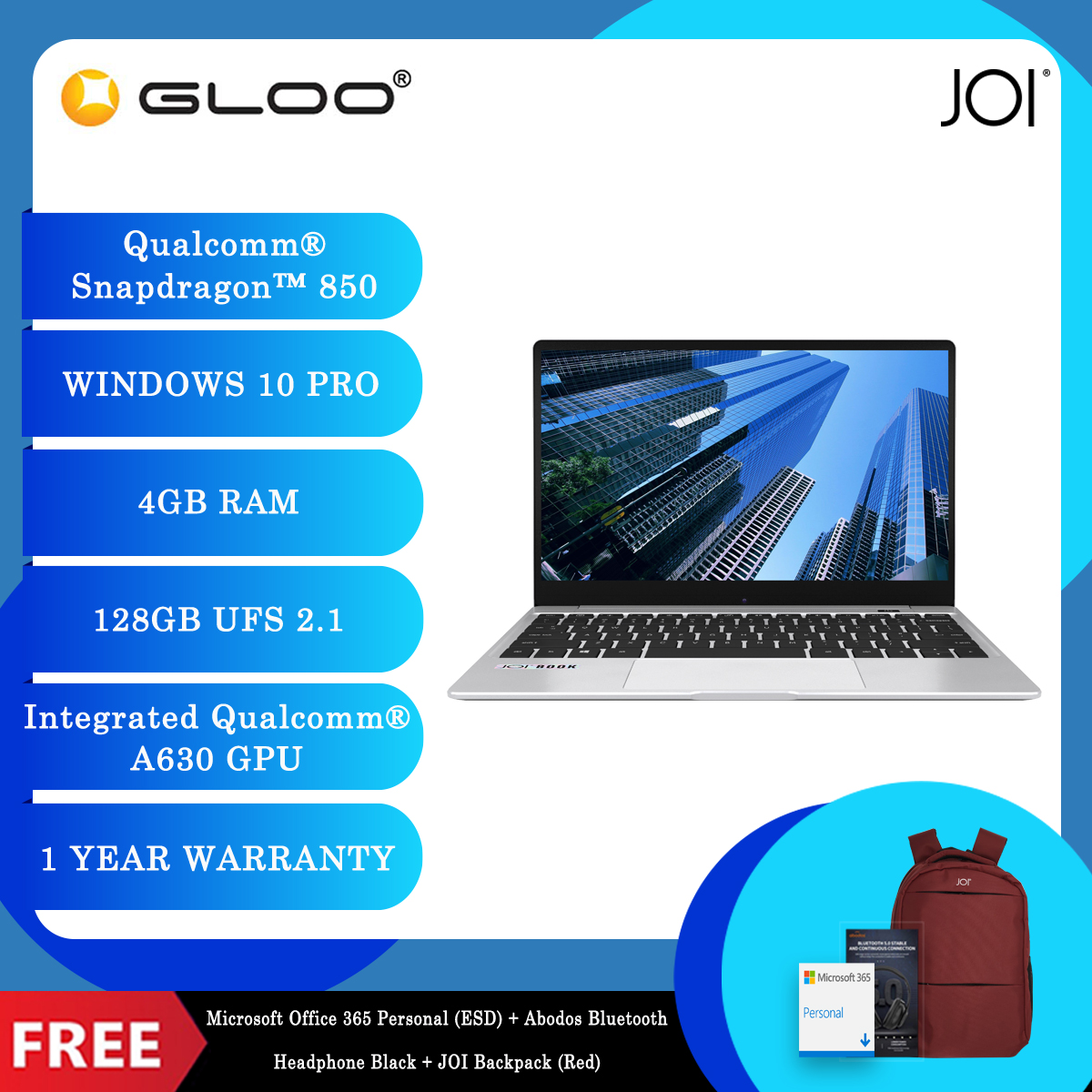 """JOI Book SK3000 (Qualcomm SDM850,Kryo385,4GB,128GB SSD,12.5"""",W10Pro,LTE) + Microsoft Office 365 Personal (ESD) + Disposable 3 Layer Face Mask + UGREEN Adapter + Abodos Bluetooth Headphone Black + JOI Backpack (Red) [BPPJOI03KHEPRD]"""