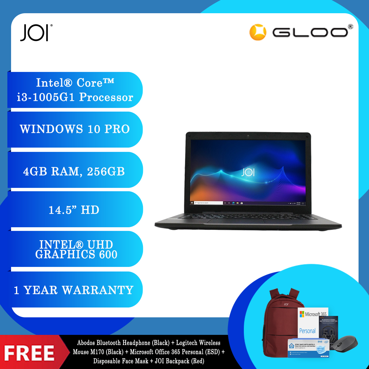 JOI Classmate 30 + Abodos Bluetooth Headphone Black  + Logitech Wireless Mouse M170 (Black) + Microsoft Office 365 Personal (ESD) + Disposable 3 Layer Face Mask + JOI Backpack (Red) [BPPJOI0C30HMRD]