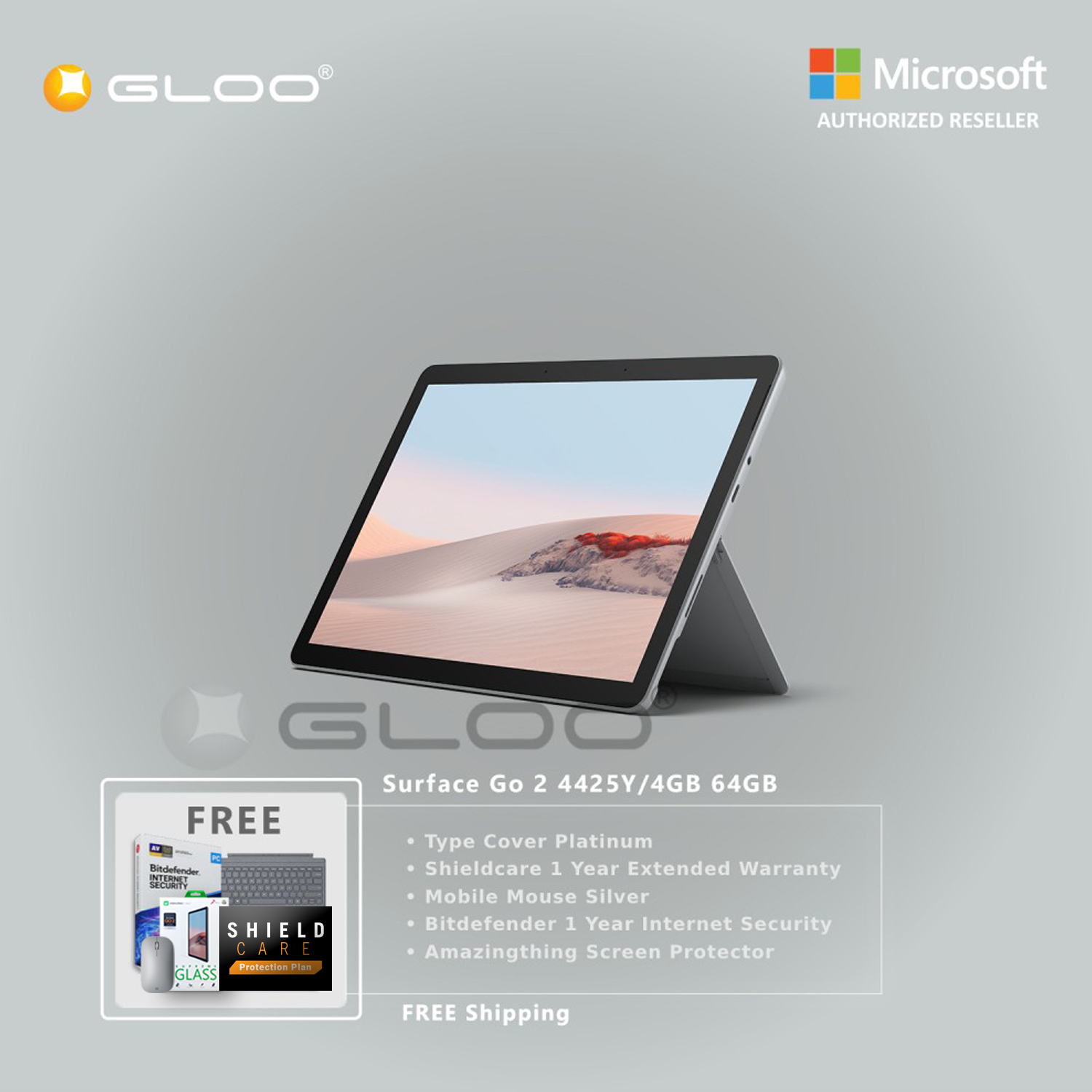 Microsoft Surface Go 2 4425Y/4GB 64GB + Surface Go Type Cover Platinum + Shield Care 1 Year Extended Warranty + Bitdenfender 1 Year Internet Security + Mobile Mouse Silver + Amazingthing Screen Protector [BPPMSOFTVTCBLA]
