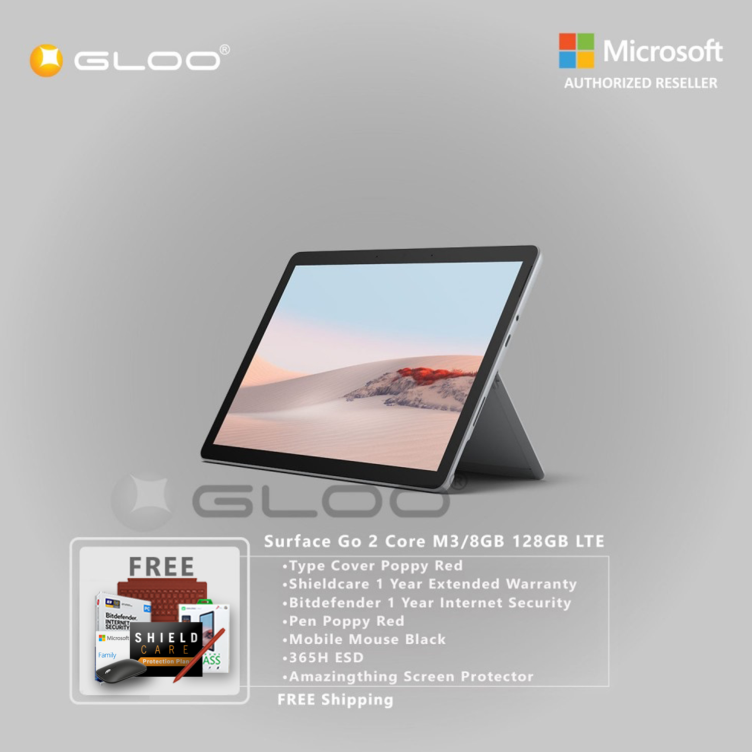 Microsoft Surface Go 2 Core M3/8GB 128GB LTE + Surface Go Type Cover Poppy Red + Shield Care 1 Year Extended Warranty+ Bitdefender 1 Year Internet Security+ Pen Poppy Red + Mobile Mouse Black + 365H ESD + Amazingthing Screen Protector [BPPMSOFZCBAMPI]