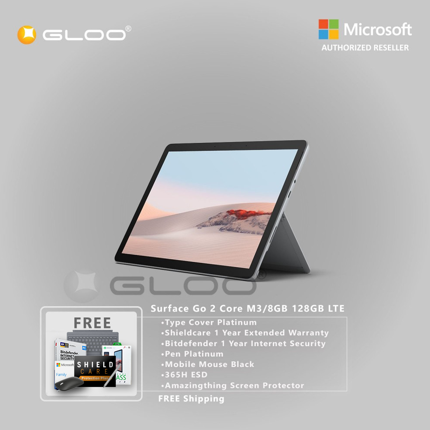 Microsoft Surface Go 2 Core M3/8GB 128GB LTE + Surface Go Type Cover Platinum + Shield Care 1 Year Extended Warranty+ Bitdefender 1 Year Internet Security+ Pen Platinium + Mobile Mouse Black + 365H ESD + Amazingthing Screen Protector [BPPMSOFZCBAMSV]