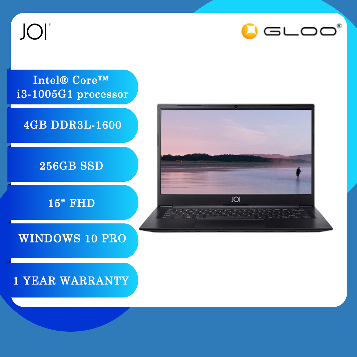"""JOI Book 3000 Laptop Black (i3-1005G1,4GB,256GB SSD,15"""" FHD,W10 Pro)"""