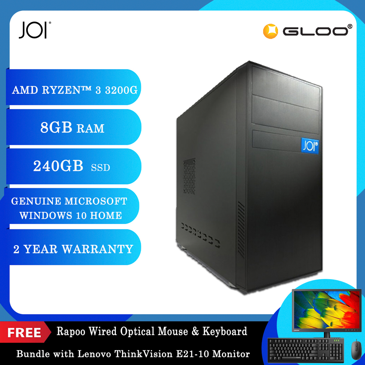 "JOI PC A1032 (Ryzen 3 3200G/8G/240GB SSD/W10H)+Lenovo 20.7"" Monitor+Free Combo Wired Keyboard+Mouse"