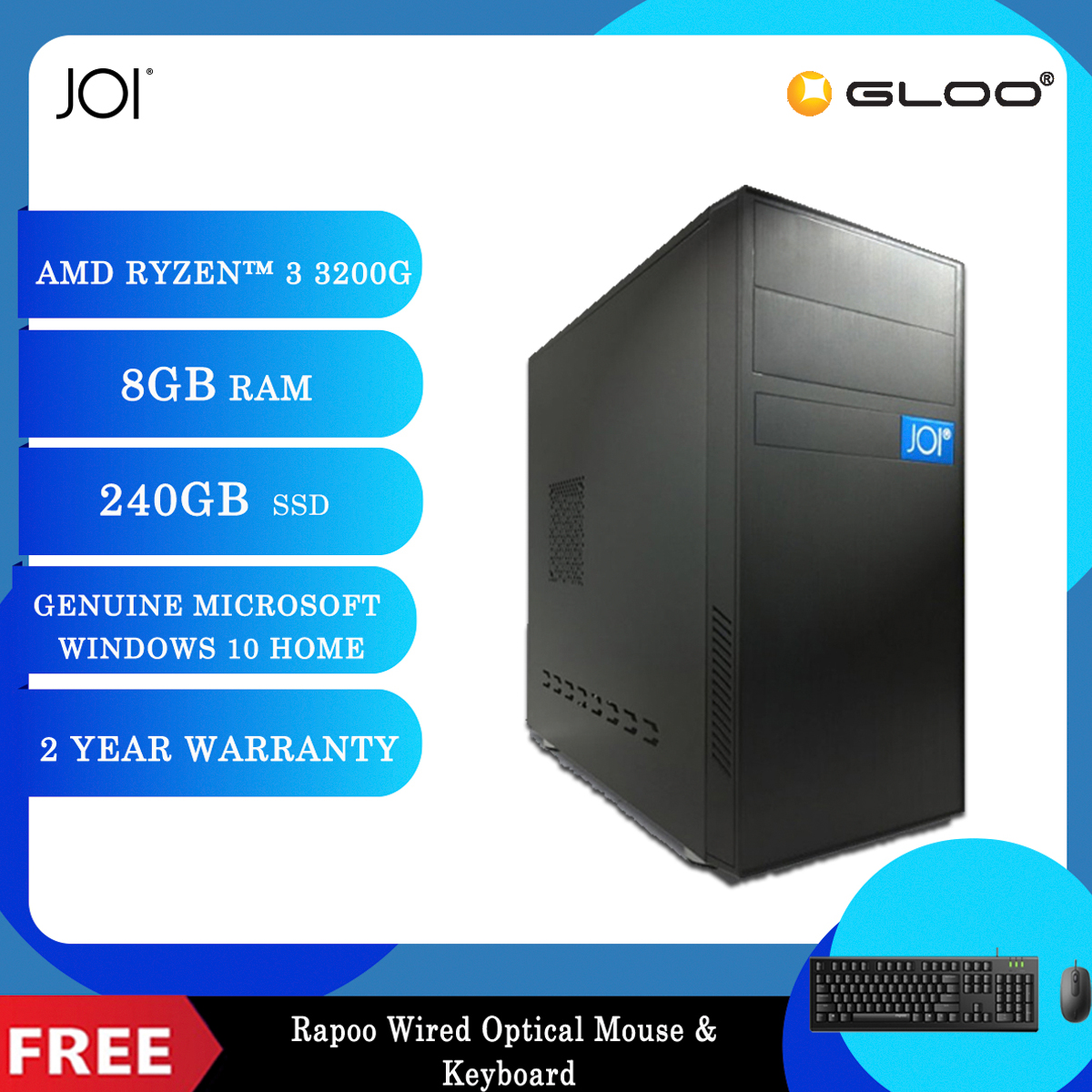 JOI PC A1032 (Ryzen 3 3200G/8G/240GB SSD/W10H) Free Combo Wired Keyboard+Mouse