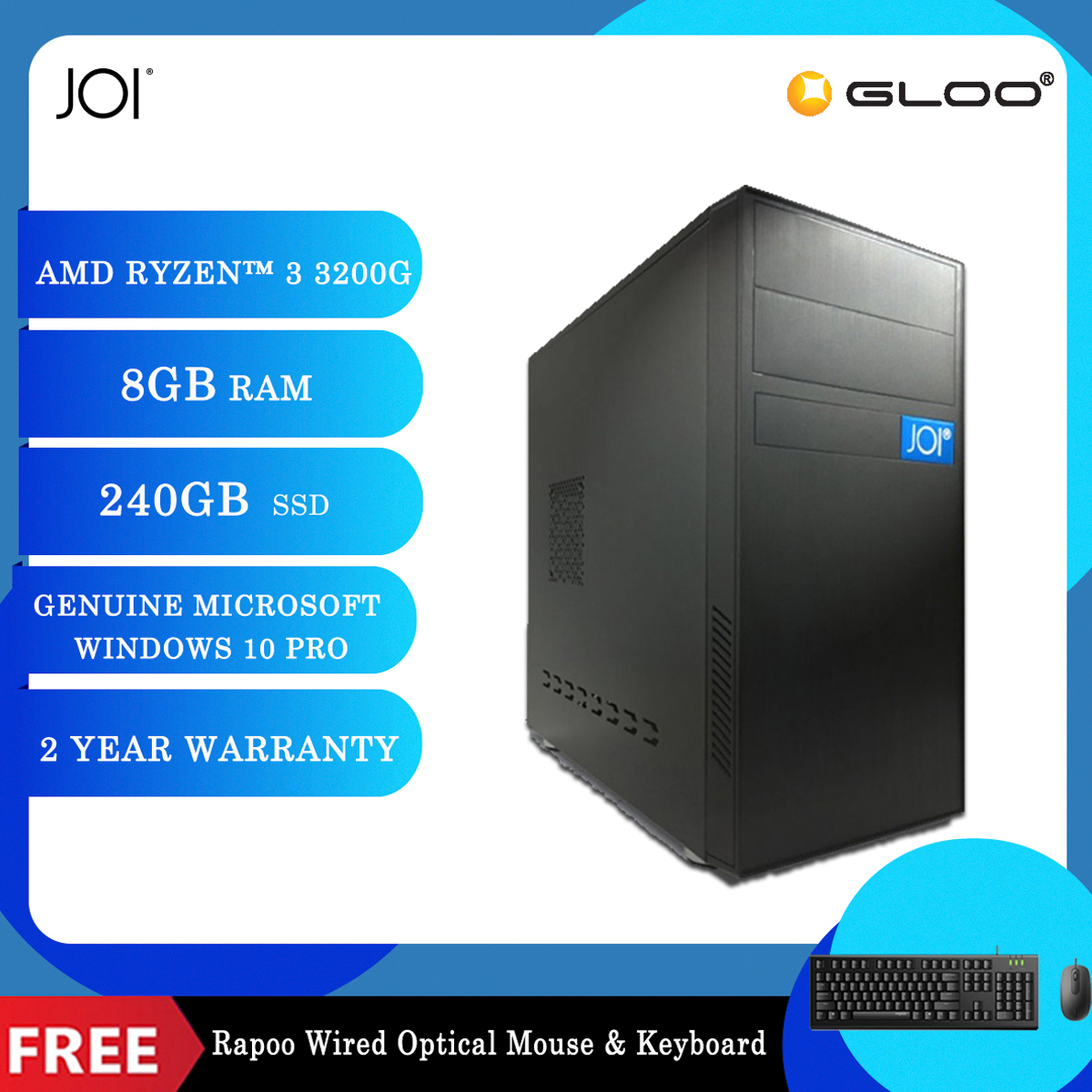 JOI PC A1032 (Ryzen 3 3200G/8G/240GB SSD/W10P) Free Combo Wired Keyboard+Mouse