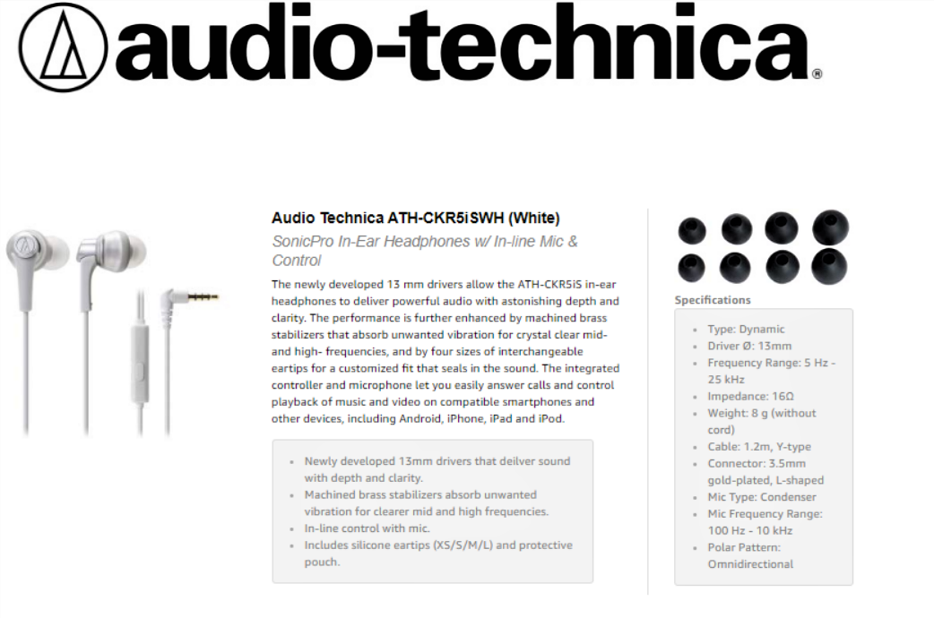 Audio-Technica-Headset-ATH-CKR5iS-WH