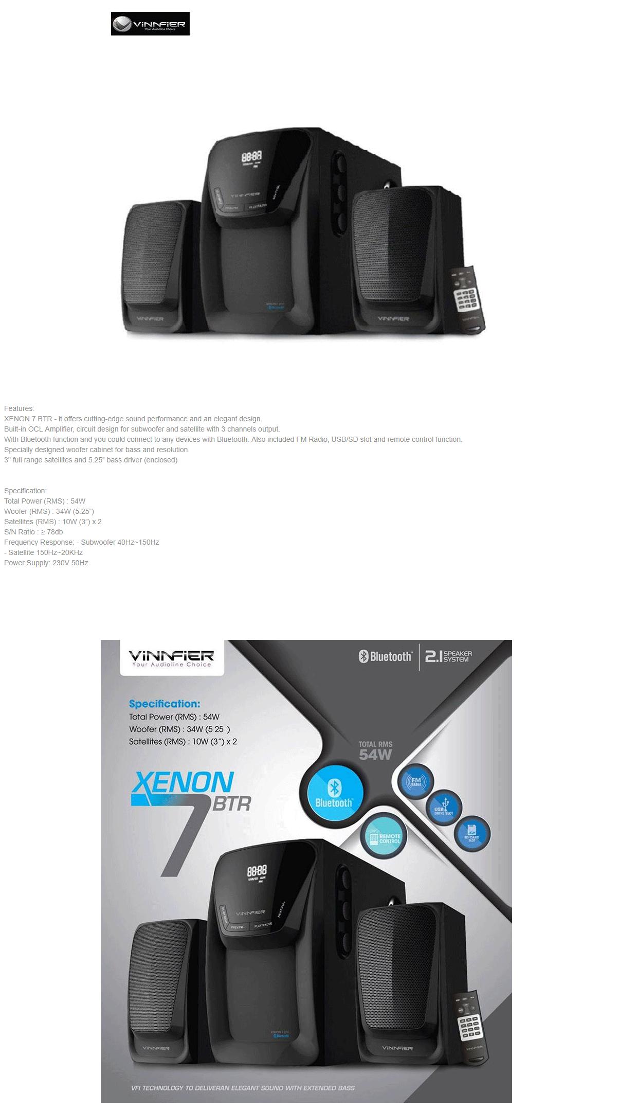 Vinnfier Xenon 7 Btr Speaker Black Bluetooth Leather Perak Product Description
